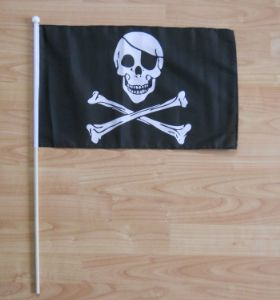 Skull and Crossbones Hand Flag - Large.